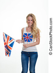 person with union flag - patriotic person with union flag