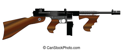 Tommy Gun - A Tommy gun as used by gangsters in the roaring...