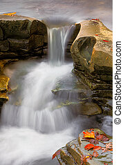 Rocky Autumn Cascade - Whitewater cascades over rocky...