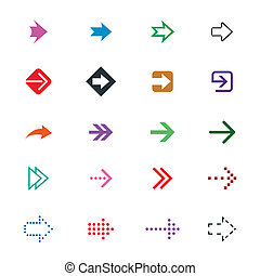 set of different arrows signs