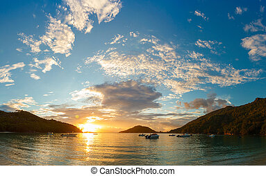 sunset on the coast of Mahe