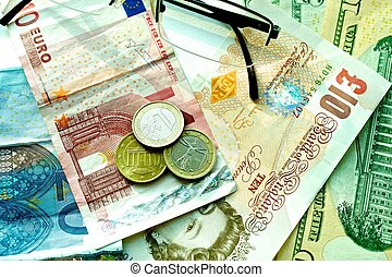 Banknotes: dollar, euro, british pound sterling, euro cents