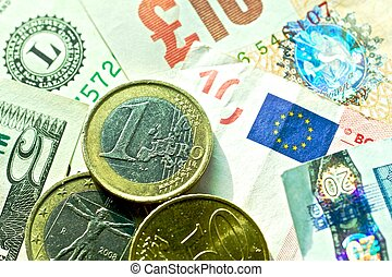 Banknotes: dollar, euro, british pound sterling, euro cents.