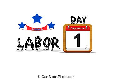 Labor day 2014 - Illustration with a labor day calendar on a...