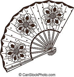 Ladys fan with pattern - Sketch isolated on white Eps 10...