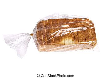 Sliced brad. - Bread in plastid bag isolated on white...