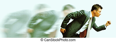 rat race! - cross-processed blurred image of a young...