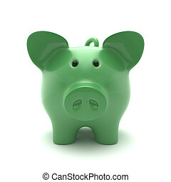 Piglet - ECO green pig on a white background