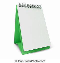 Calendar white templates on green substrate on a white...