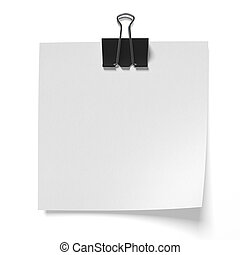 Paper pinned binder clips on a white background