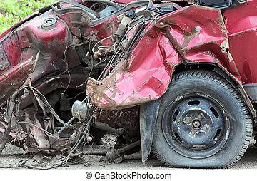 car after crash - closeup view on car after crash