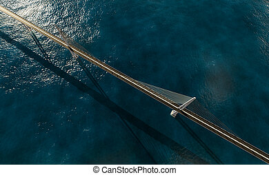 Suspension bridge over ocean
