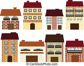 Cartoon houses - Vector illustration of different houses