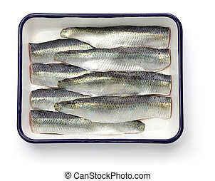 cooking process of pickled herring, sliced salted herrings...