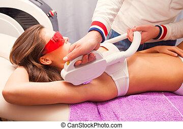 laser epilation - woman laser epilation armpit