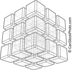 Cube 3d wireframe on white background