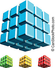 Cube 3d illustration - Cube 3d with fillet edge illustration...