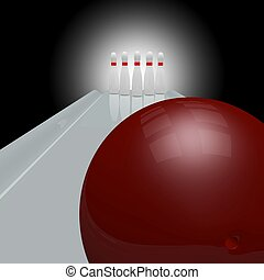 Bowling Alley - 3d bowling alley scene with white bowling...