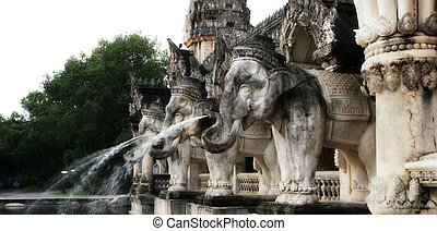 Elephant sculptures - Giant elephant sculptures at a park in...