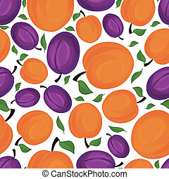 Seamless pattern of apricots, vector illustration - Seamless...