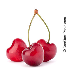 Heart shaped cherry berries isolated on white background...