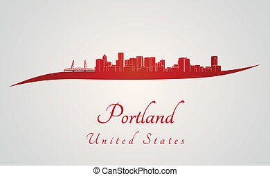 Portland skyline in red and gray background in editable...