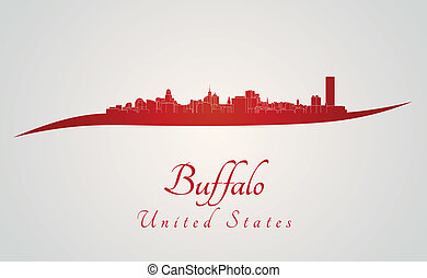 Buffalo skyline in red and gray background in editable...