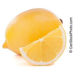 Lemon or citron citrus fruit isolated on white background...