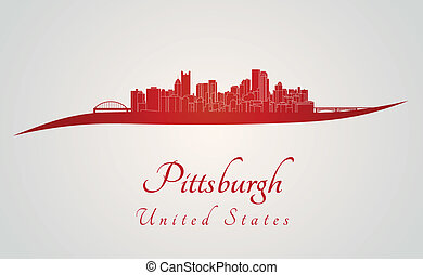 Pittsburgh skyline in red and gray background in editable...