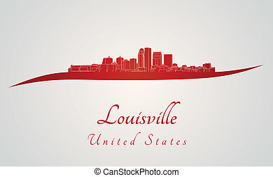Louisville skyline in red and gray background in editable...