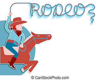 Cowboy with lasso rodeo background. - Cowboy on horse with...