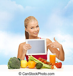 woman with fruits, vegetables and tablet pc - fitness, diet,...