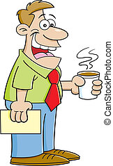 Cartoon man holding a coffee cup. - Cartoon illustration of...