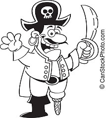 Cartoon pirate with a sword