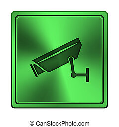Surveillance camera icon - Square metallic icon with carved...