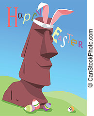 Happy Easter from Easter Island - Funny original Happy...
