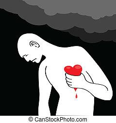 homem, tendo, Coração, ataque