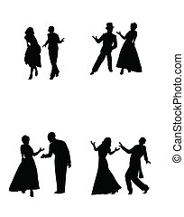 dance couples  - retro dance couples in silhouette