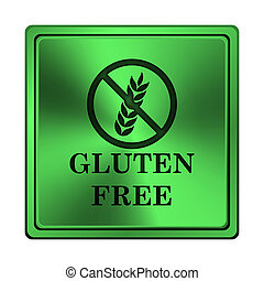 Gluten free icon - Square metallic icon with carved design...
