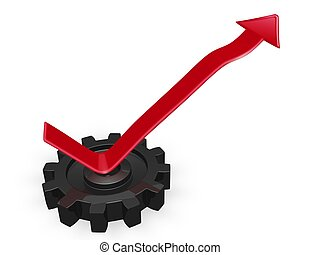 Business Growth Arrow Rising From a Gear