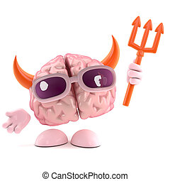 3d Brain is the devil - 3d render of a brain character...