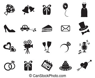 Wedding icons - Set of black silhouette icons for wedding...