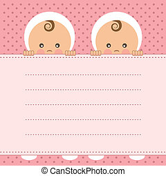 Baby girl twins announcement card. Vector illustration.