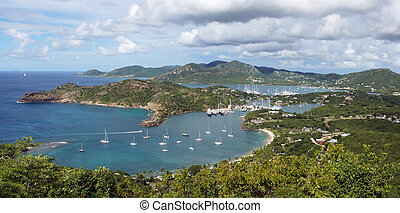 Panorama view over English Harbour and Nelsons Dockyard,...