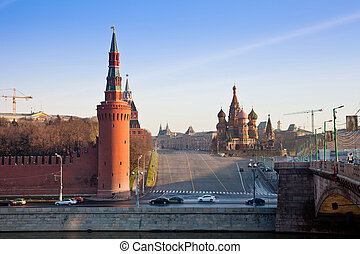 Intercession Cathedral (St. Basil's) and the Spassky Tower -...