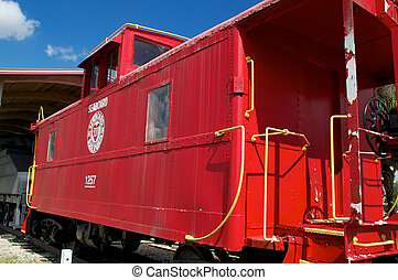 old fashioned red train caboose - An old weathered red train...