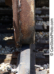 rusted train wheel on track