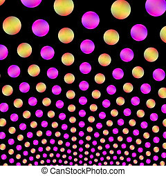 Luminescent Pink and Yellow Balls on Black