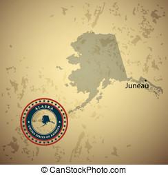 Alaska map with stamp vintage vector background