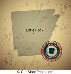 Arkansas map with stamp vintage vector background